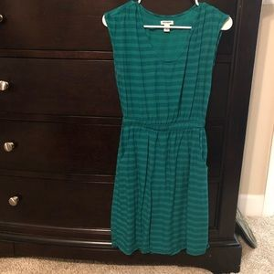 Striped cinched dress with pockets